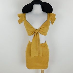 Mustard tie front top and skirt set